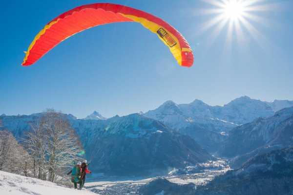 Paragliding over Interlaken Switzerland
